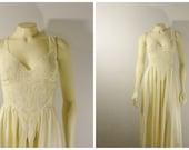 Vintage Nightgown Olga RARE Off White Lace Bodice Satin Skirt Chiffon Back Nylon Gown Bridal  Modern sz Medium to Large