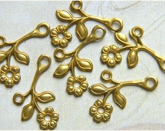 Raw Brass Flower Leaf Stamping Right Facing Drop 12mm x 22mm - 6 pcs. (r145)