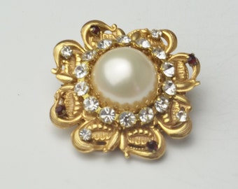 Vintage Brooch Stanley Hagler N.Y.C. Faux Pearl Cabochon Swarovski Rhinestone Gold Plate Costume Jewelry Pin on Etsy