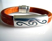 Swirl - Light Brown and Silver Leather Bracelet