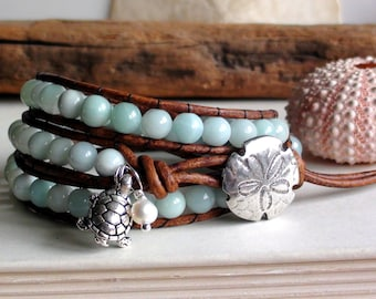 Sea Blue Green Amazonite Leather Wrap Bracelet with turtle and pearl