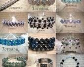 DIY 12 Bracelet Tutorial Bundle: Right Angle Weave Beaded Bracelets, Save 50%, Instant Download