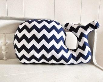 Large Modern Chevron Whale Pillow, navy blue and white, plush nautical nursery baby decor