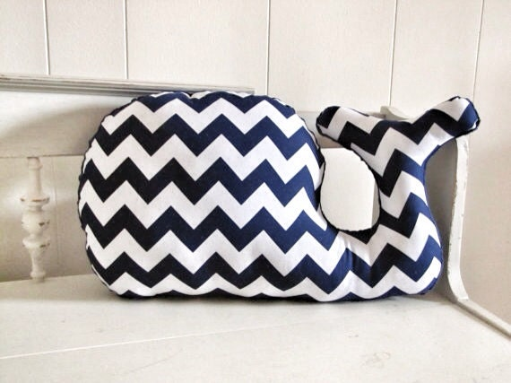 Large Modern Chevron Whale Pillow navy blue and white plush