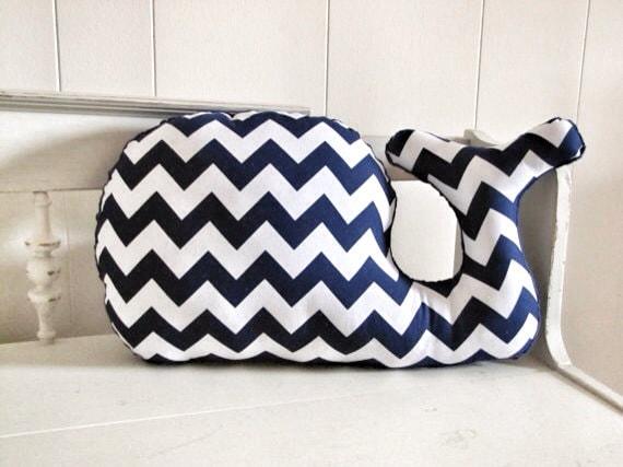 Diy Giant Chevron Floor Pillows : Large Modern Chevron Whale Pillow navy blue and white plush