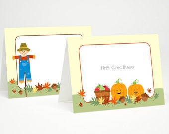 Fall Place Cards - Scarecrow and Pumpkins  - DIY Printable Digital File