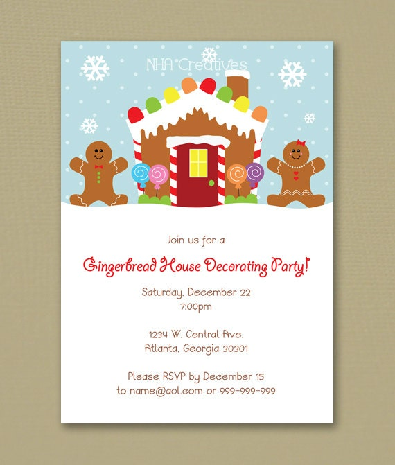 Gingerbread House Decorating Party Invitation Personalized – Gingerbread Party Invitations