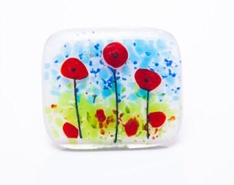 Poppies fused glass brooch poppy teachers gifts presents jewellery Christmas stocking filler secret santa Xmas mom mum remembrance memory
