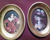 Pair of Vintage Florentine Classic Art Italy Framed Miniatures Pair Family Portraits Shabby Cheeky Pictures for your Paris Style Pad in Rome