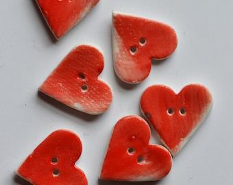 Ceramic Heart Button - Stoneware porcelain - Handmade - Glazed - Set of six buttons