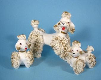 1950s White Spaghetti Poodles - Mama and Pups White Porcelain Spaghetti Poodles
