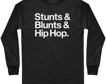 LS Stunts Blunts & Hip Hop T-shirt - Long Sleeve Tee - Men and Kids - S M L XL 2x 3x 4x - 4 Colors