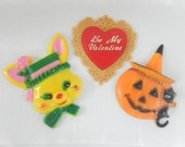 vintage cake decorations, Valentines, Easter, Halloween - home decor, collectibles