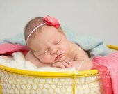 Pink Hydrangea Headband...Baby Girl Headband...Newborn Headband...Photography Prop...Floral Headband...Newborn...Hydrangea