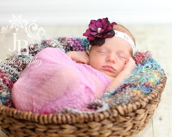 Purple Flower Headband...Baby Bows...Baby Girl Headband...Flower Headband...Newborn Headband...Infant Headband...Photography Prop