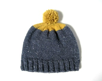Beanie hat in Mustard and Blue with pom pom, UNISEX