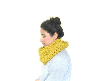 Chunky Cowl, Infinity Scarf, Cowl Snood Scarf in Mustard Yellow handmade, READY TO SHIP
