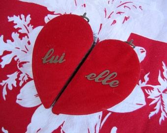 Vintage Clothes Brush Velvet His Hers Heart Shaped Two Piece  Brush Set Lui Elle