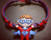 Super Hero Kid Button Hemp Bracelet