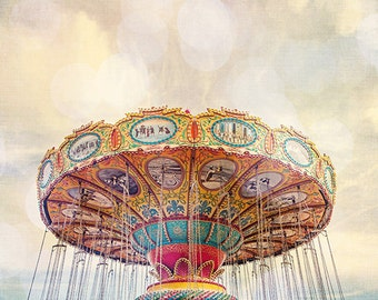 Santa Cruz California Boardwalk Print, Carnival Sea Swings Nursery Decor, Carnival Photography, Magical Summer Photo Print - Dreamer