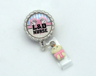 Labor and Delivery Nurse Retractable Badge Reel - Designer Badge Clips - L&D ID Holder - Badge Reel Gifts - Cute ID Holders - Nurse ID Pulls