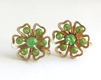 Coro Green Rhinestone Gold Tone Clover Flower Screw Back Earrings // Vintage Jewelry