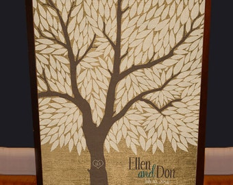 Rustic Wedding Guestbook Tree - Guest book Alternative - Burlap Wedding Tree Guest Book