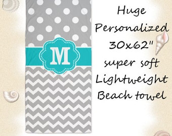 Teal Gray Chevron Dots Personalized Monogram Beach Towel - You choose accent color