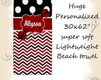 Ladybug Black Red Chevron Polka Dots Personalized Monogram Beach Towel