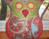 Red and Light Blue Paisley Print Body with Green Polka Dot Face and Red Nose Oliver / Olivia Owl Pillow