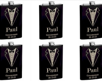 Set of 6 8oz Black Tuxedo Groomsmen Hip Flask with Personalization