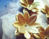 A61-2 6pcs Vintage Style Raw Brass Lotus Shape Charm Findings 29mm