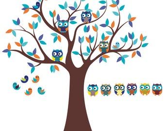 Nursery wall decal - Vinyl tree decal - Owl tree - 6 Free olws