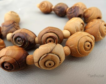 Vintage carved olive wood beads, 1970s new old stock, 2 strands 13mm beads, rounded barrel shape