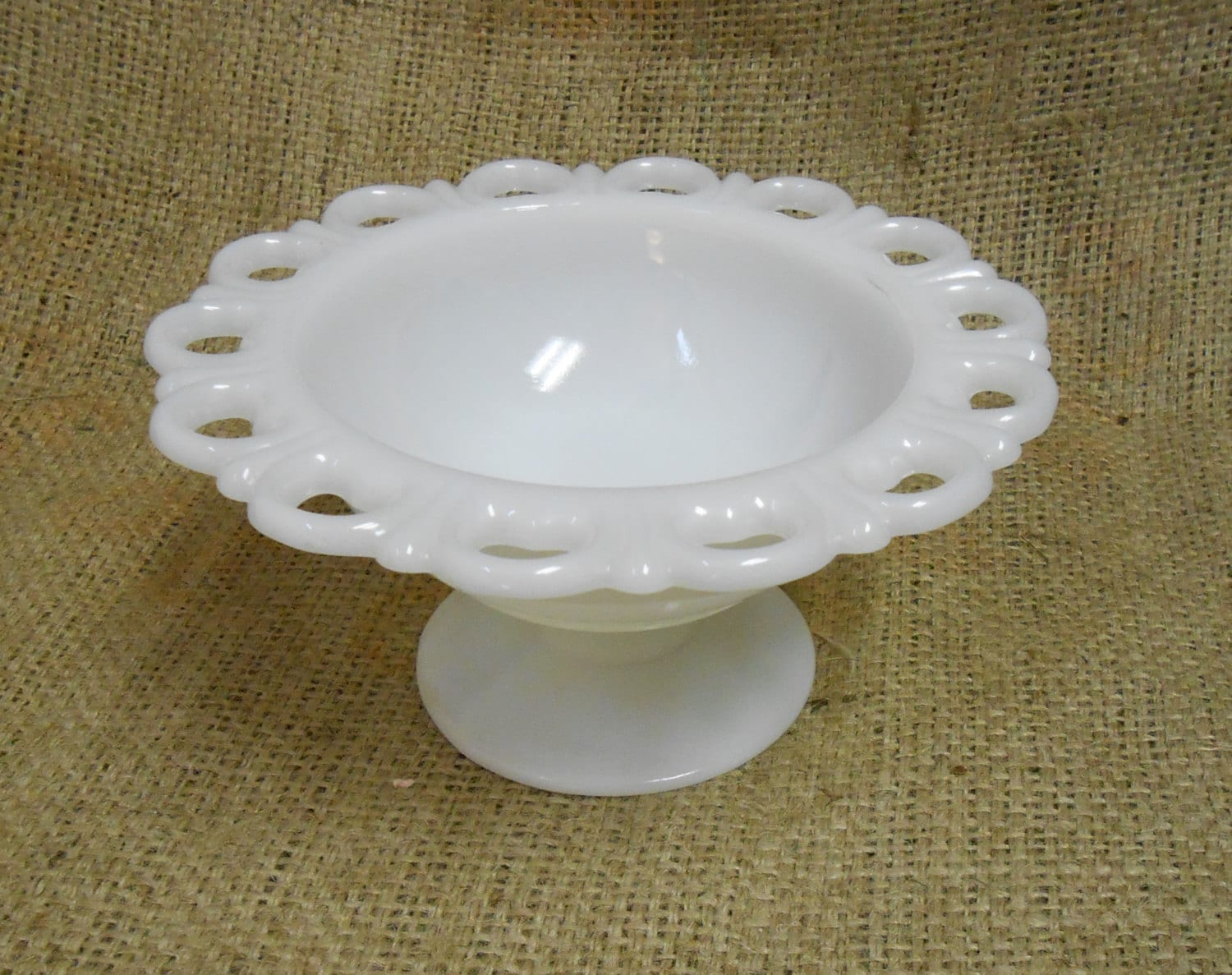 Vintage White Milk Glass Candy Dish / Scalloped Edge