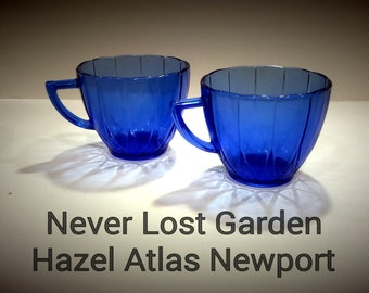 Hazel Atlas Glass Co Cobalt Cups Newport Vintage