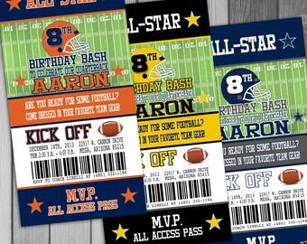 Football Birthday Invitation Ticket Invitation Football Ticket Sports Ticket Invitation Birthday Party Football Party