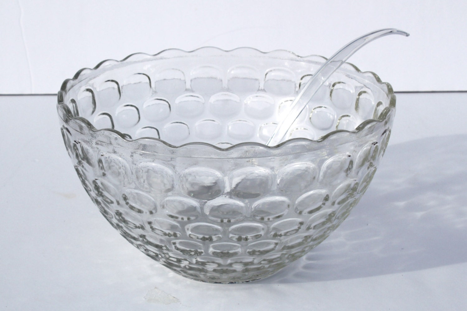 vintage punch bowl federal glass thumbprint by itsstilllife