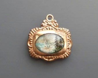 Victorian Scenic Fob. Reverse Painted. Nautical.