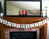 Just Married Wedding Burlap Banner, Bunting, Sign