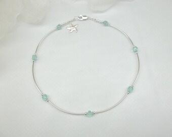 Aquamarine Anklet Crystal Ankle Bracelet Starfish Anklet or Bracelet Silver Anklet 925 Sterling Silver Ankle Bracelet BuyAny3+Get1Free