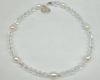Silver Sand Dollar Bracelet White Pearl Bracelet Clear Crystal Bracelet Summer Sterling Silver Bracelet Beach Wedding Bracelet BuyAny3+1Free