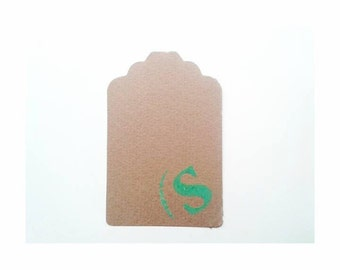Initial Tag - Letter S - S - Cardboard tags - Set of 40 Tags - Cardboard - Package