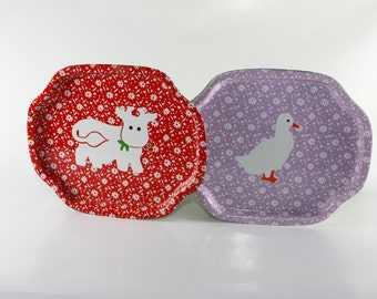 Vintage Tin Set, Cow and Duck, Farm Tins, 1980s, Red Tin and Purple Tin, Excellent Condition, Bright Colors