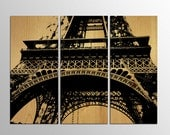 Paris France Eiffel Tower Modern Travel Poster Black Silhouette on Natural Wood Panels