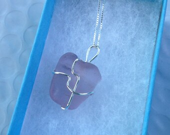 Handmade Genuine Lavender Seaglass Sterling Necklace