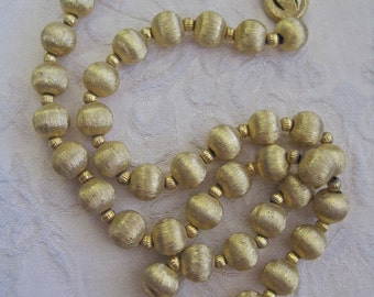 """Gold Beaded Necklace Vintage 60s Metal Textured Beads on Chain Fancy Clasp Mad Men Secretary Long 21"""" Bead Chain"""