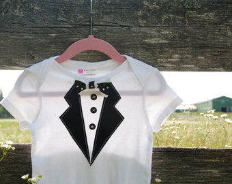 12 months Baby Tuxedo Bodysuit Applique with Bowtie