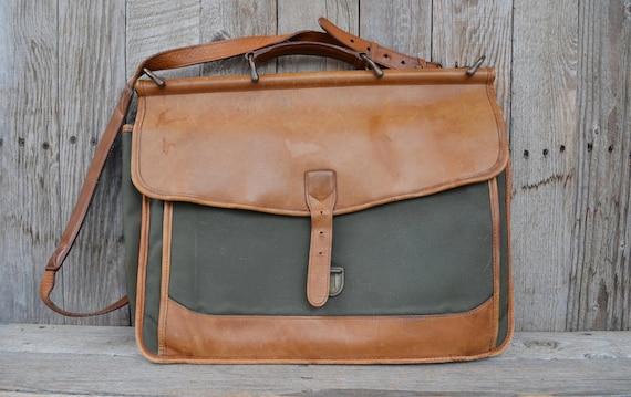 Vintage 90 S L L Bean Leather And Canvas Messenger