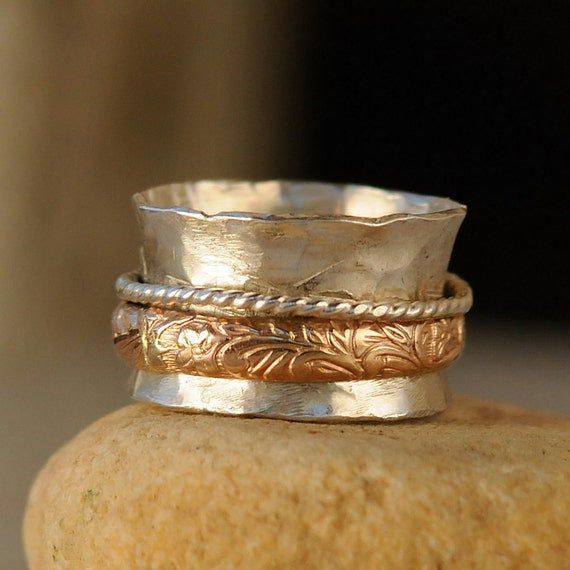 Sterling Silver Spinner Ring - Gold Accents Fidget Ring - Spinning Ring